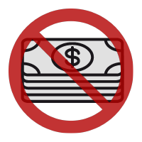 Cash icon with a circle and slash through it