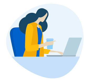 illustration of woman working on a computer