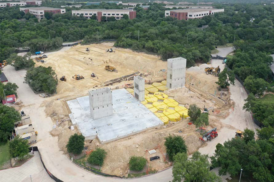 Aerial view of Northwest Vista College Parking Garage