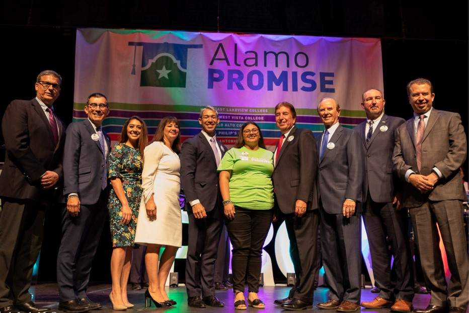 AlamoPROMISE Launch Ceremony Speakers Standing On Stage