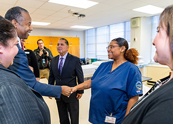 Carson meeting with students