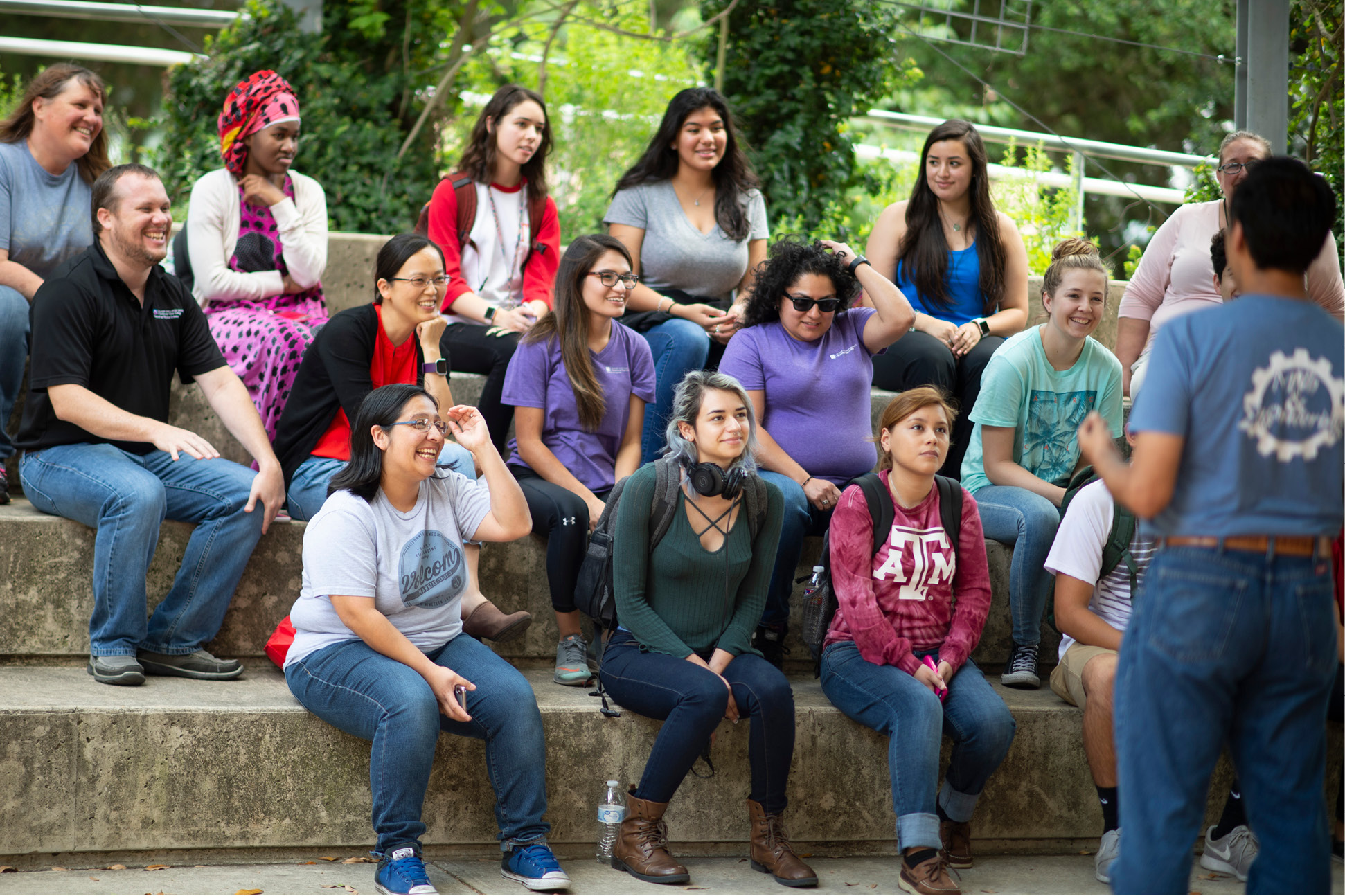 Students in an outdoor classroom at NVC