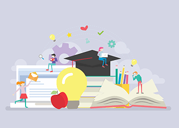 Vector art of students studying